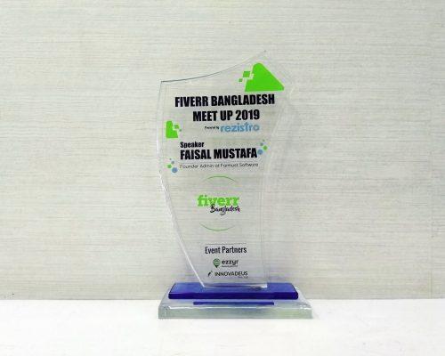Faisal Mustafa Received Award as a Speaker from Fiverr Bangladesh Meetup in 2019